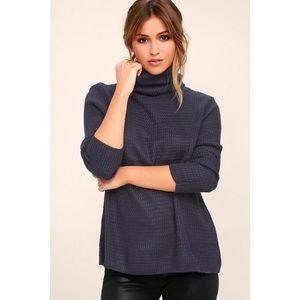 Sweet Salutation Navy Blue Turtleneck Sweater